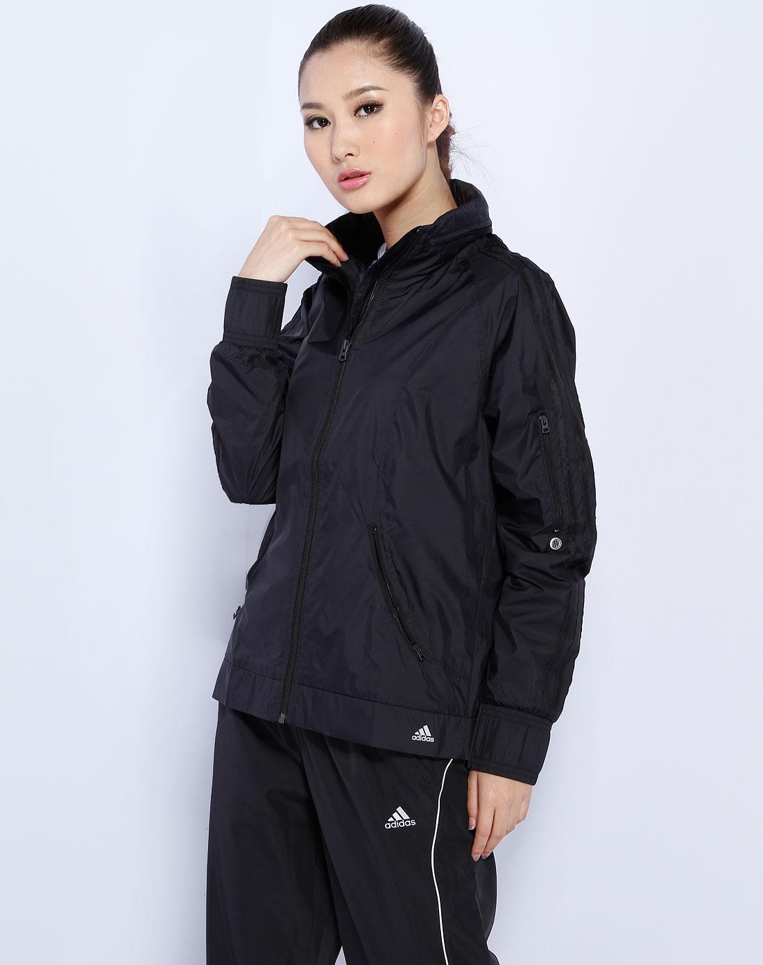 阿迪达斯adidas女款黑色运动长袖外套e17172