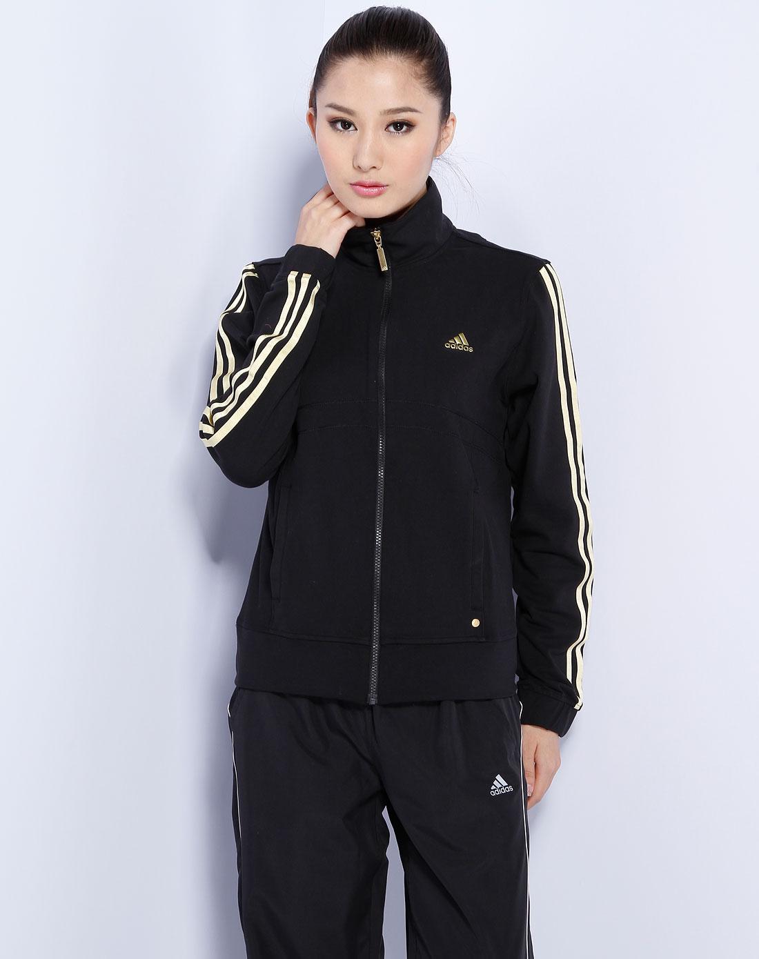 阿迪达斯adidas女款黑/金色时尚运动拉链外套e69277