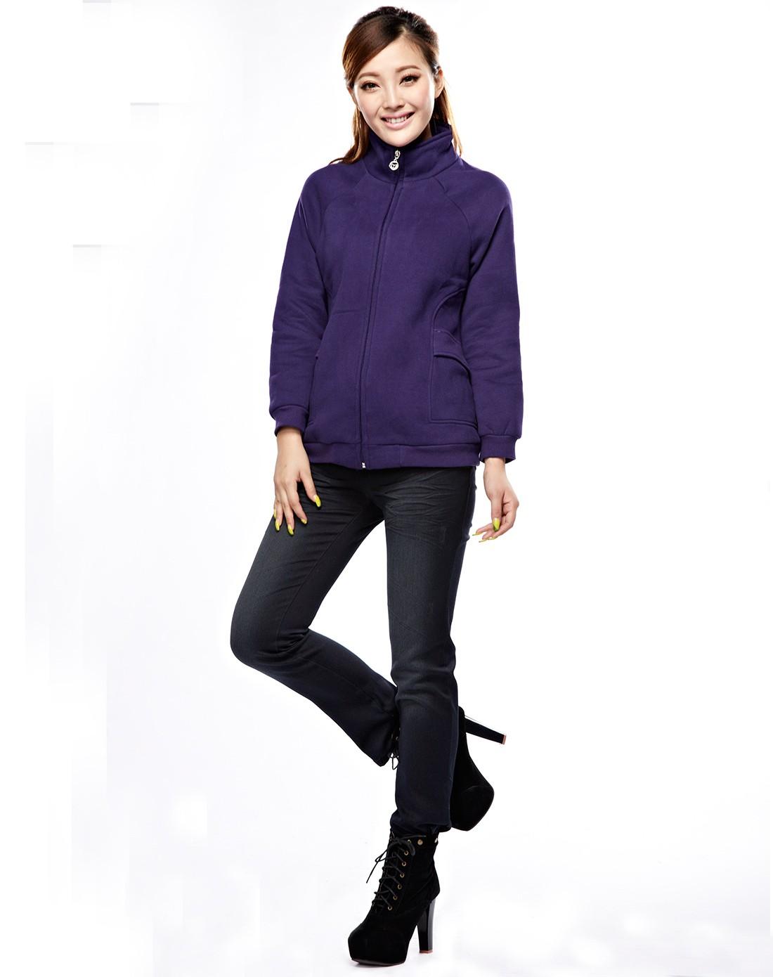 紫色针织外套