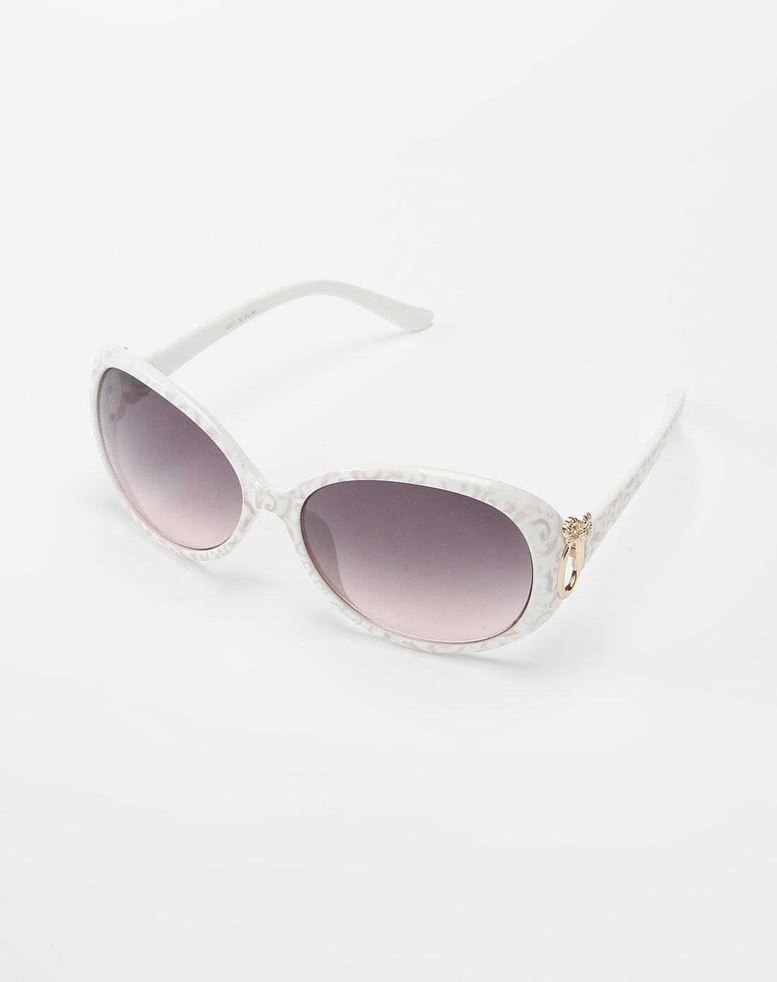白色时尚花纹太阳眼镜
