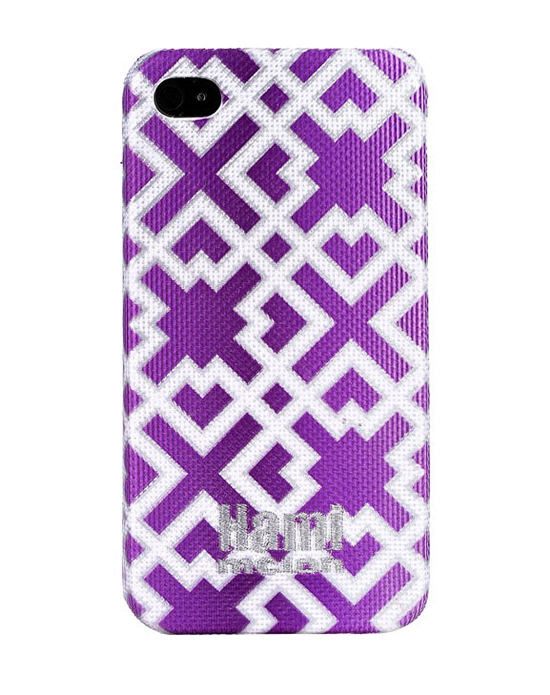 iphone 4/4s后壳- 紫色渐变背景加银色中国窗花