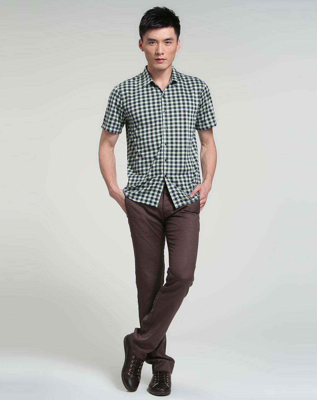 帕丝特pstl男装专场 > 绿色时尚格仔短袖衬衫