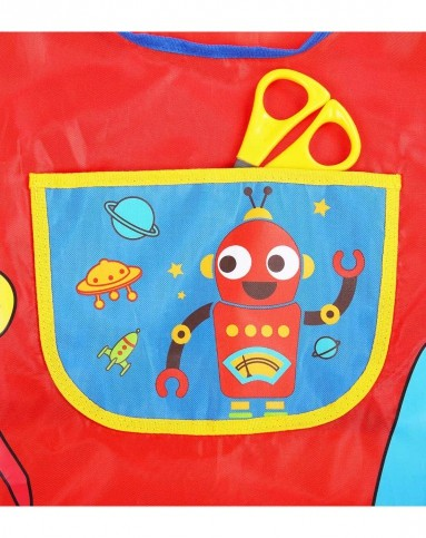 hugmii 男女童红色机器人带袖套画画衣