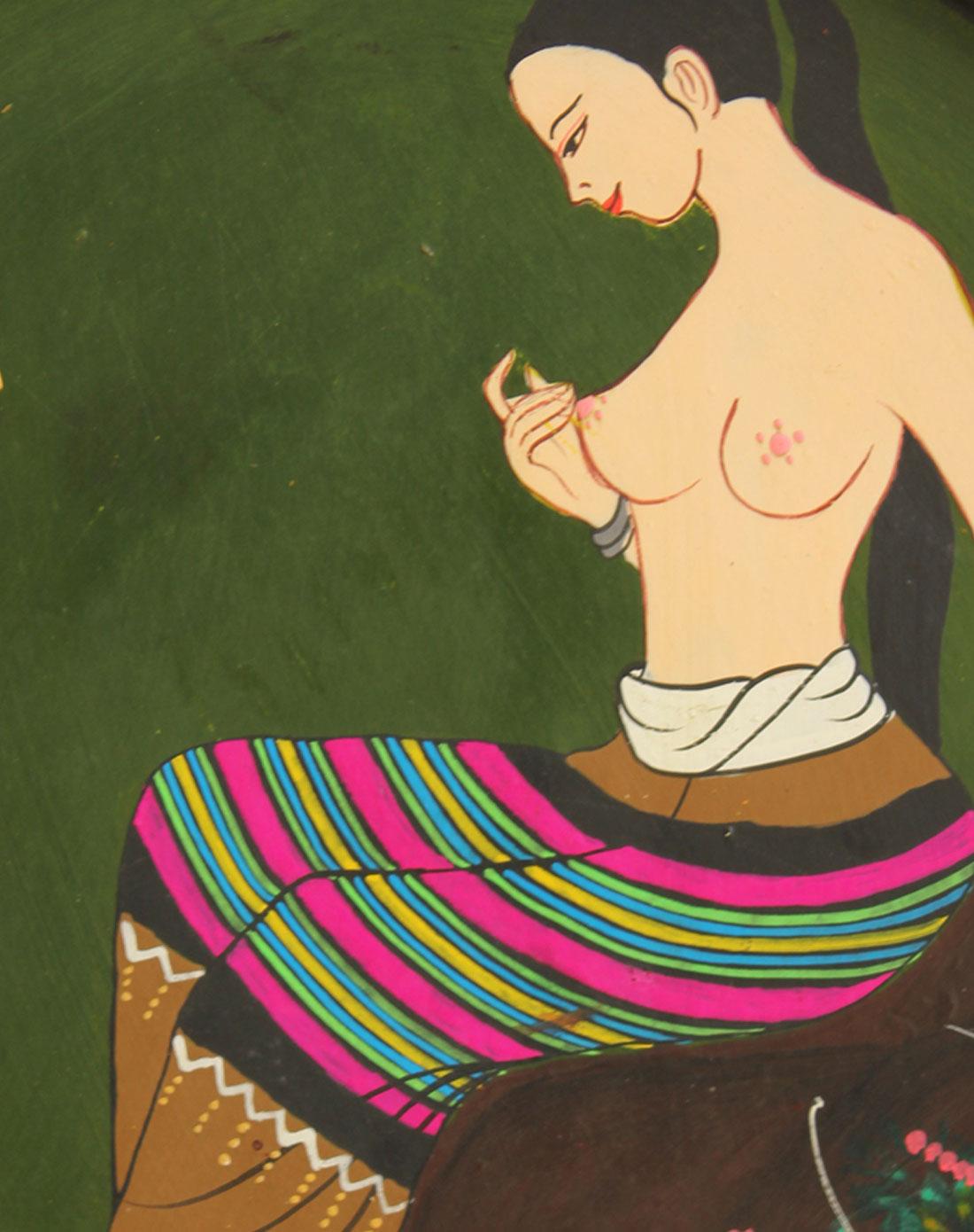 泰国天然柚木手绘墙壁挂件美女沐浴图(绿色)