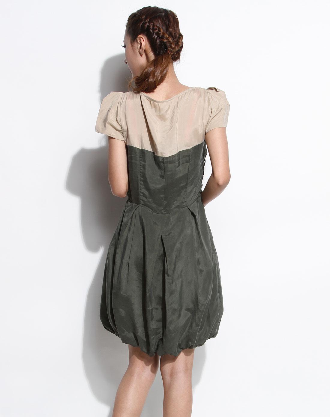 傲丝度isayido女装专场-绿色时尚短袖连衣裙