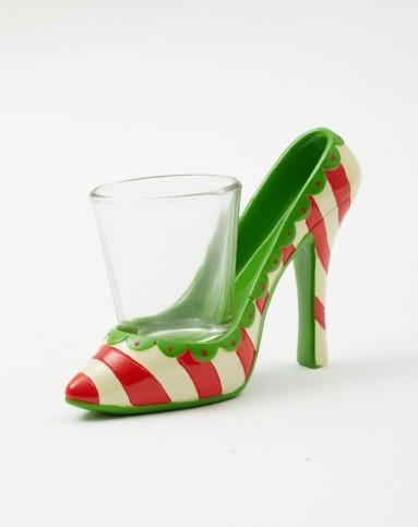 > 美式创意树脂手绘高跟鞋烈酒杯架 烈酒杯套装