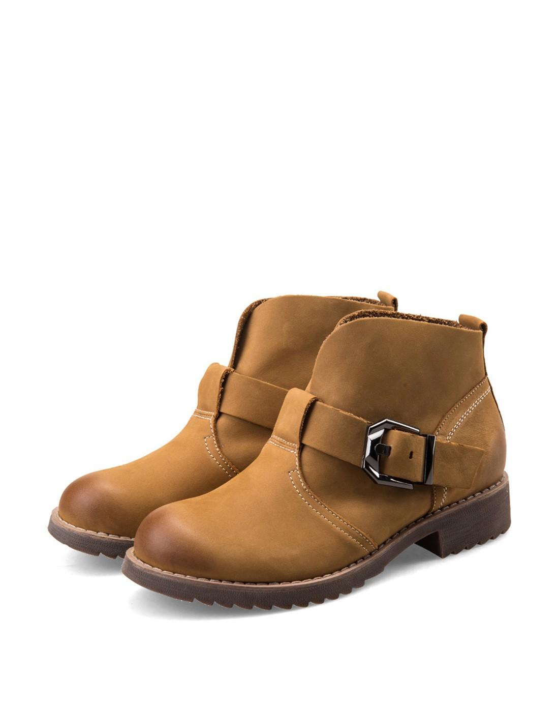 皮英伦浅棕色马丁靴