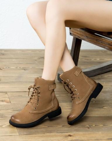 牛皮英伦浅棕色马丁靴