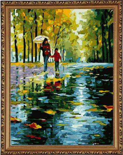 diy数字油画雨中情裱外框大框版 赠送仿世界名画一幅(梵高向日葵)