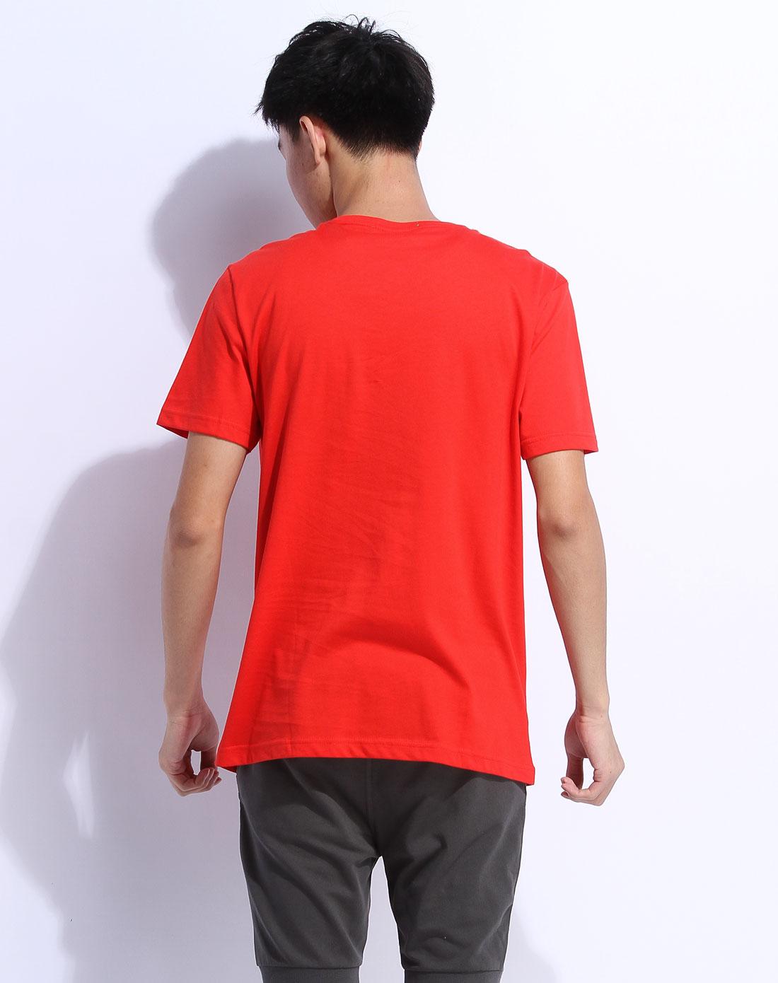 森马男装专场-红色短袖休闲t恤图片