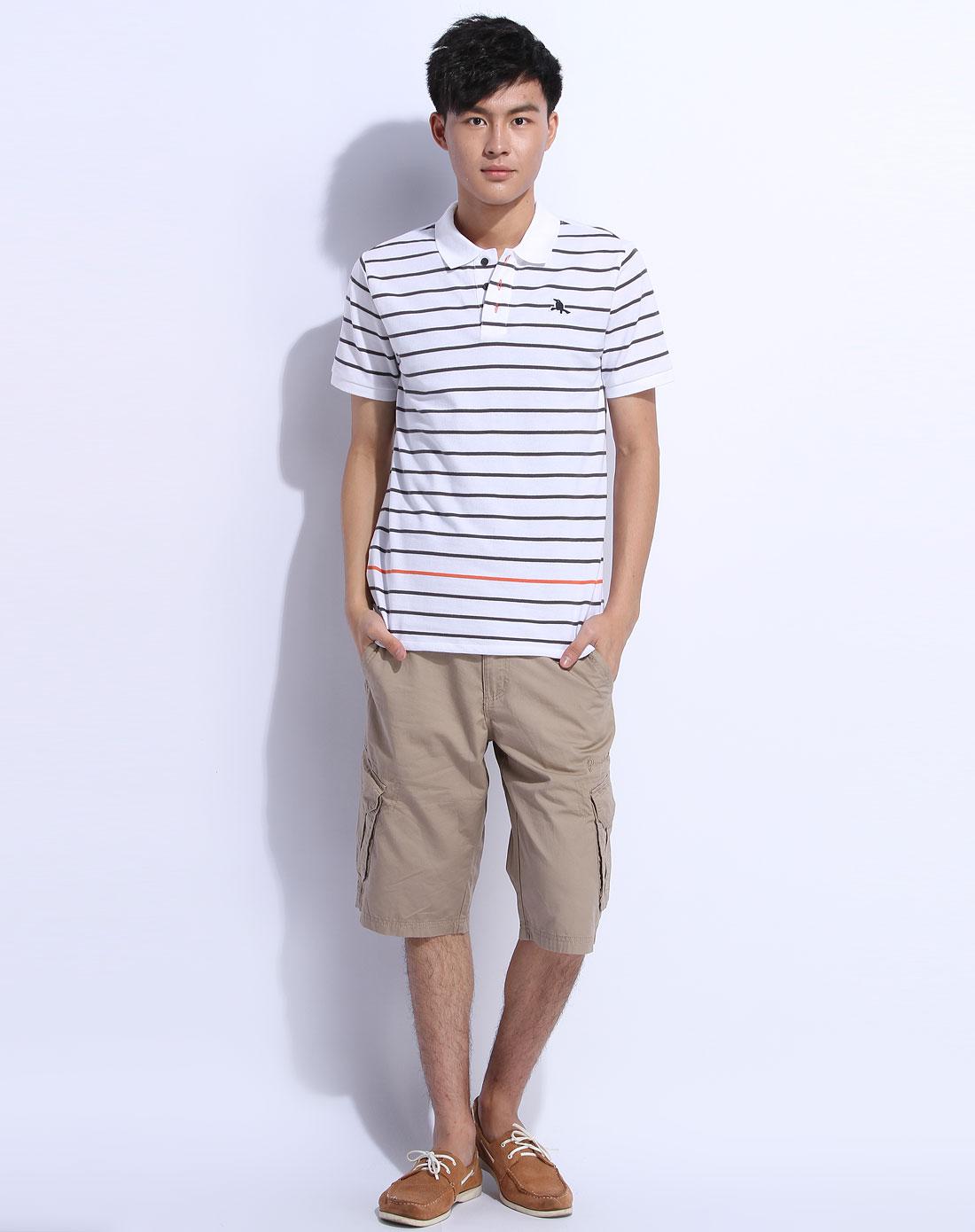 森马男装专场-白色条纹翻领短袖休闲t恤图片