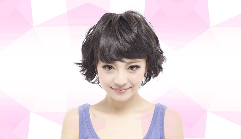 经典萝莉短卷发bobo头 萝莉范十足 瞬间变萌可爱 自然黑 ,萝莉短卷发