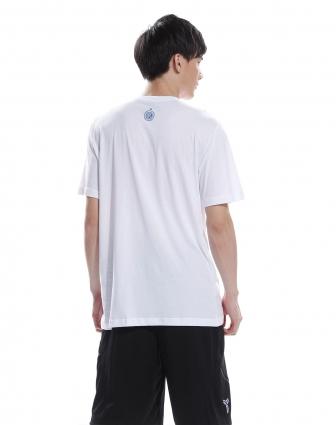 男款白色卡通人物图案圆领短袖衫