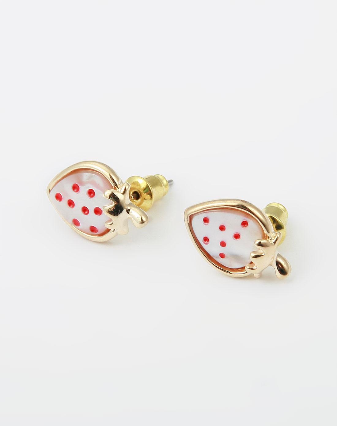 可爱小草莓金色耳钉
