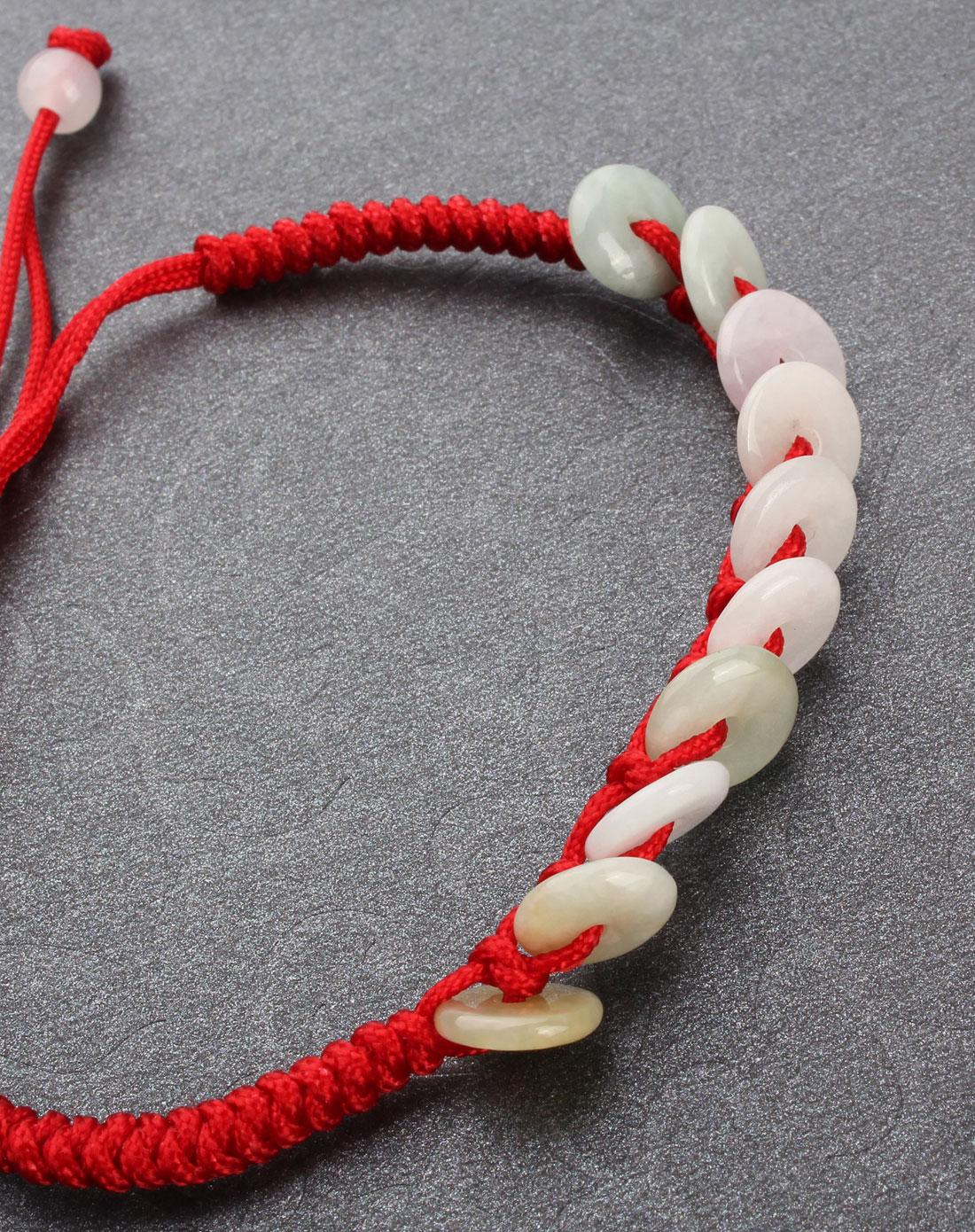 翡翠a货手工编织手链可调节-平安扣