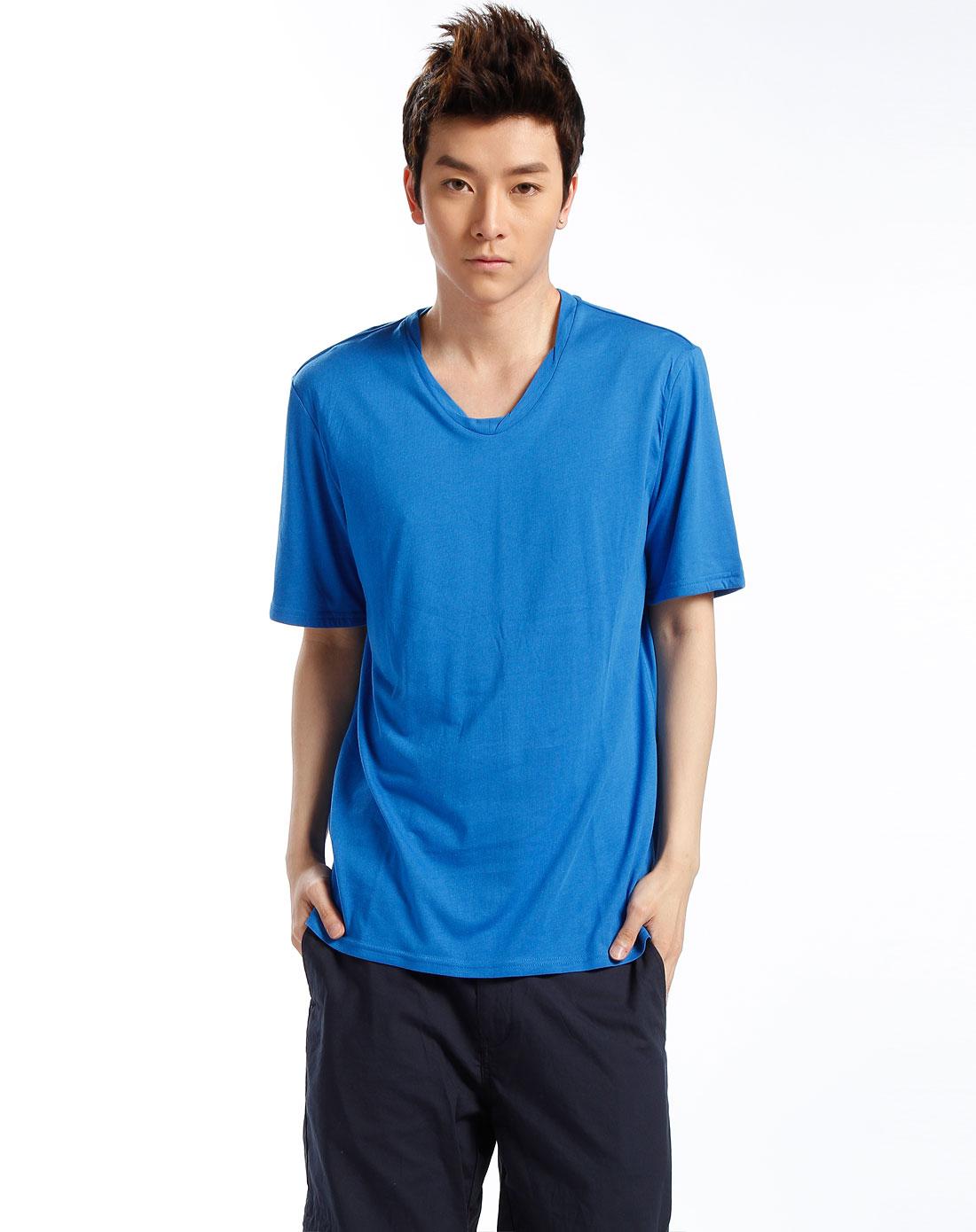 男款深蓝色简约短袖t恤