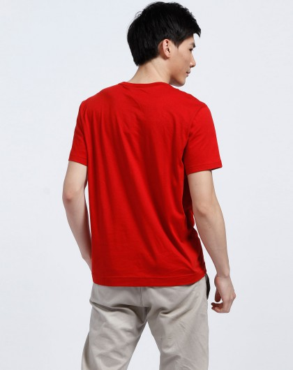 男款大红色圆领短袖t恤