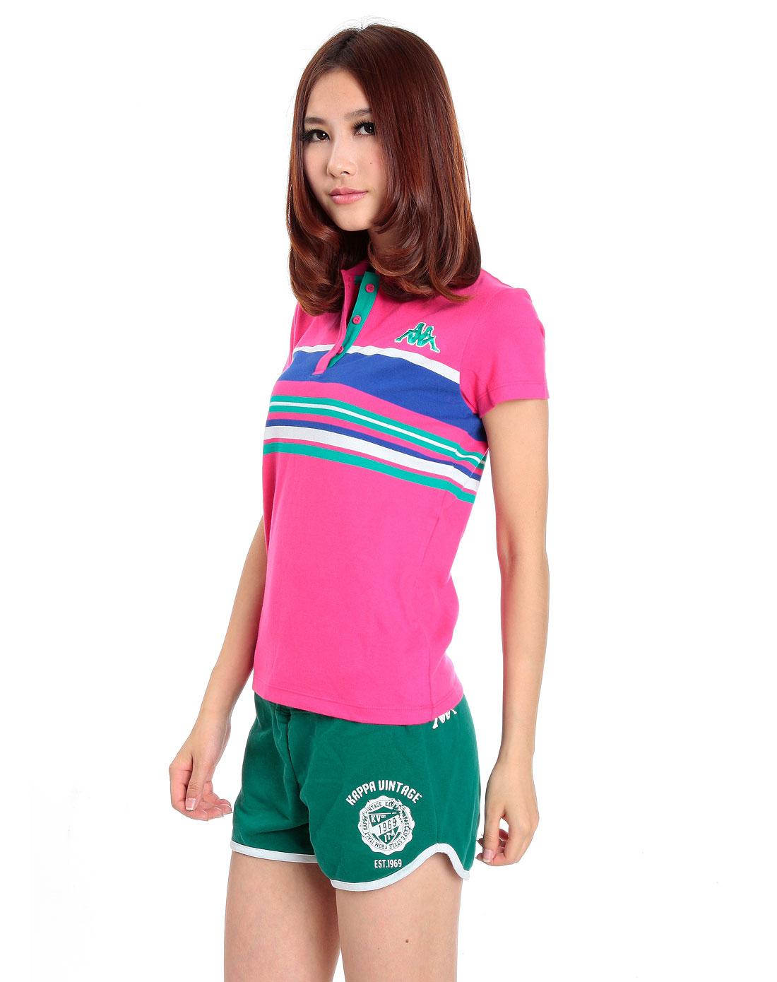 女款彩色横间纹休闲短袖polo4
