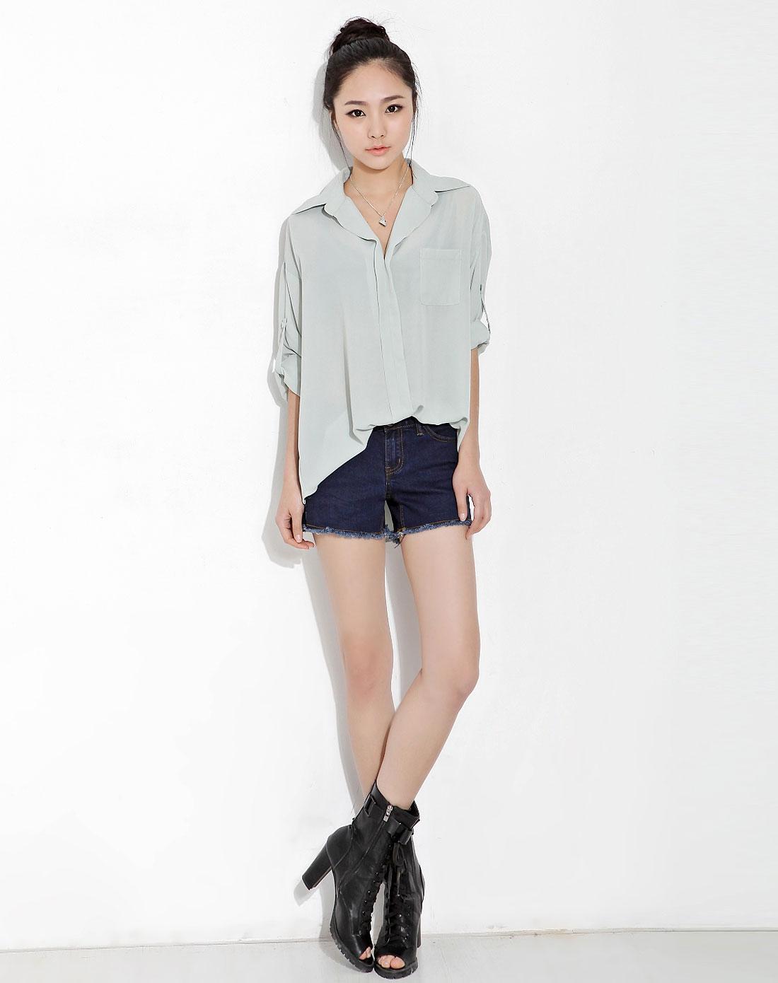 韩都衣舍hstyle女薄荷色纯色翻领长袖雪纺衫fp1499