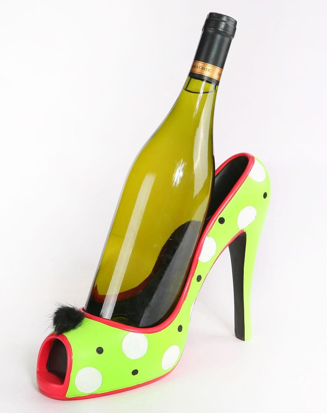 创意高跟鞋手绘树脂红酒架-绿色圆点