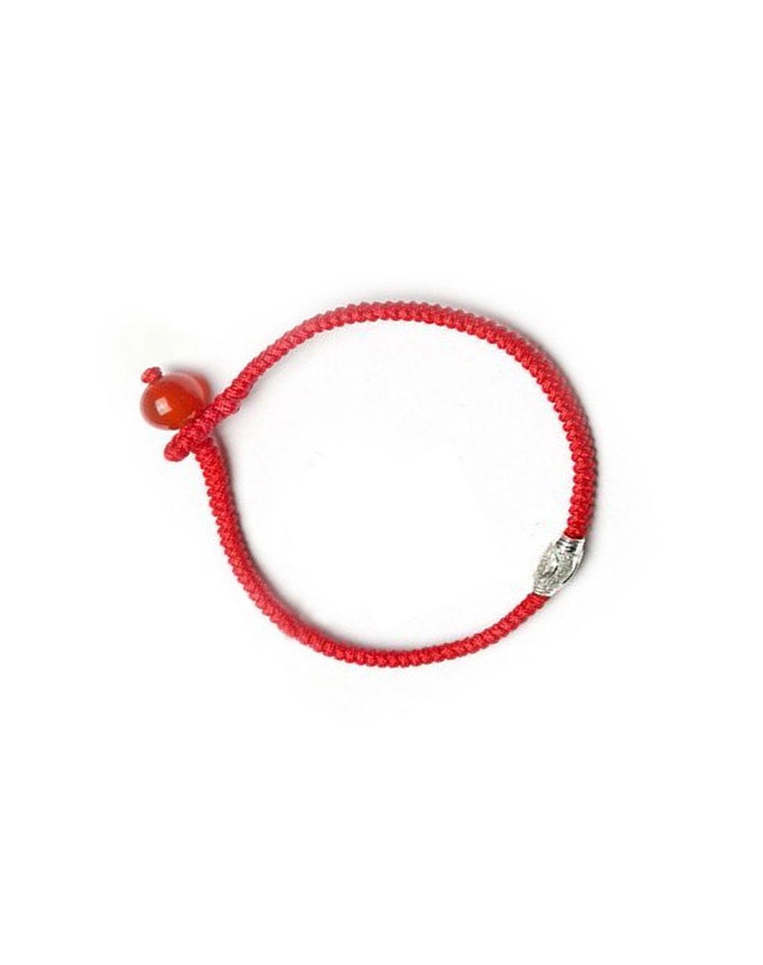红色s925银纯手工编织转运珠手链