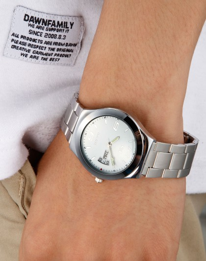 百迪 男款白色合金链条表带手表