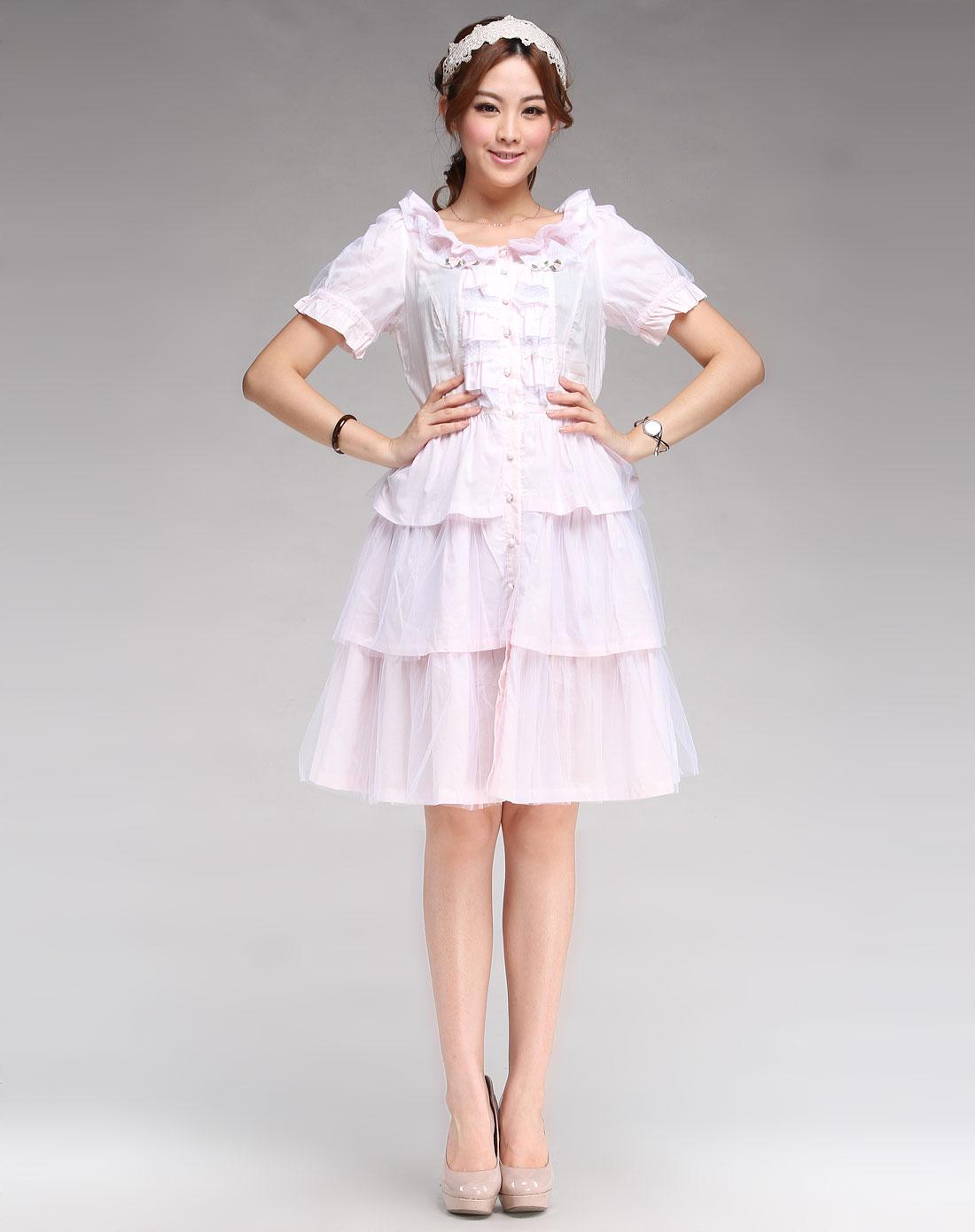 粉红色可爱短袖连衣裙