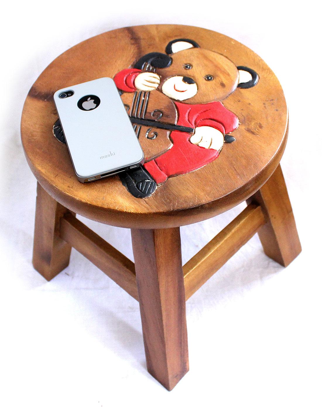 泰国柚手工制作家居木凳(音乐熊)一对装