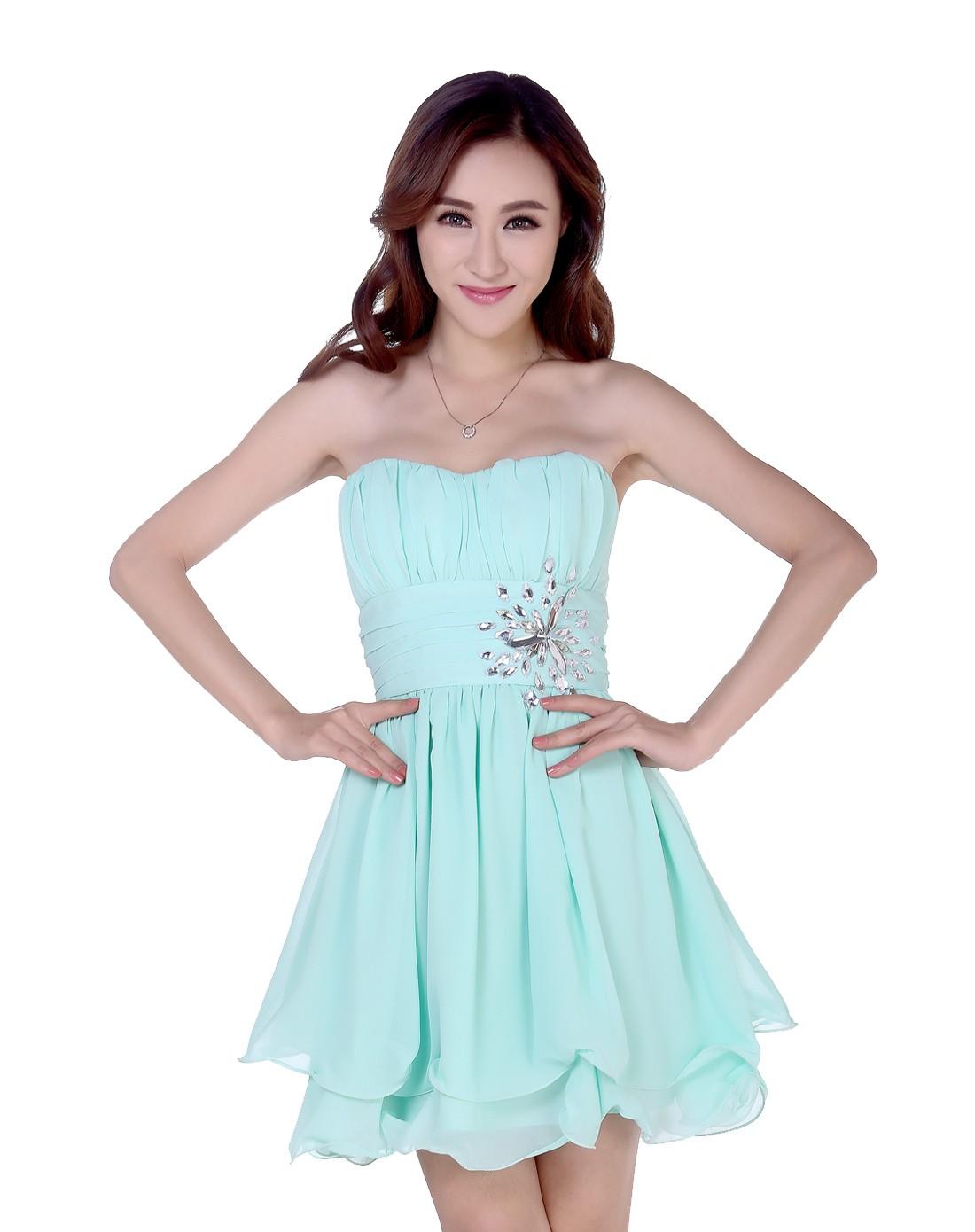 绿色甜美气质抹胸礼服连衣裙