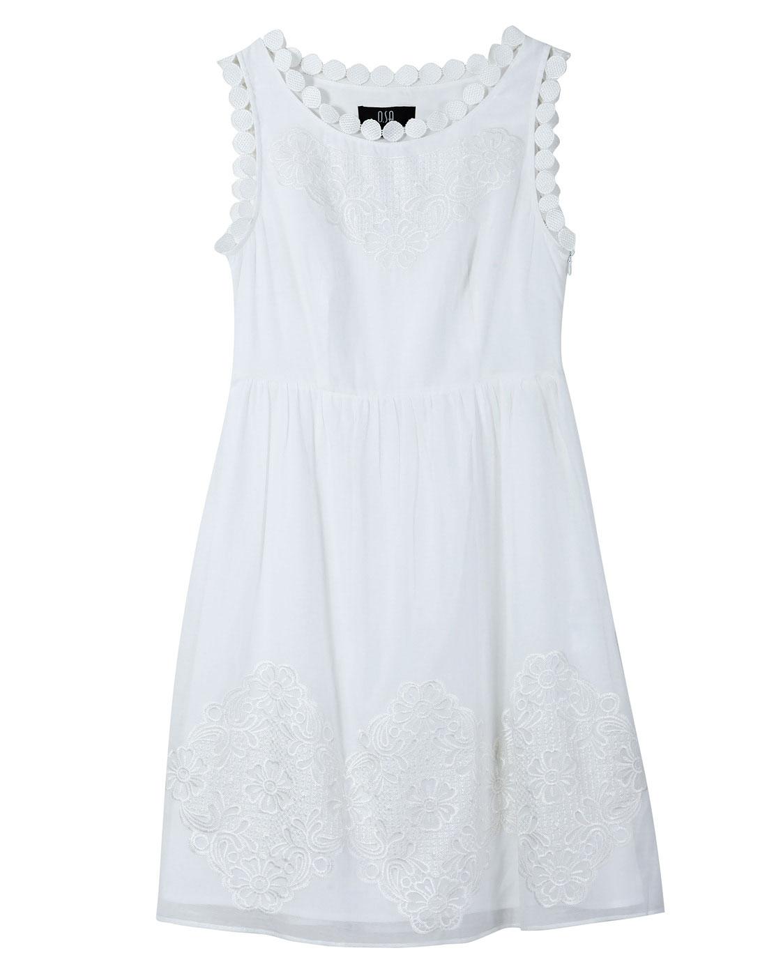 sa白色刺绣花边连衣裙sl234542000a