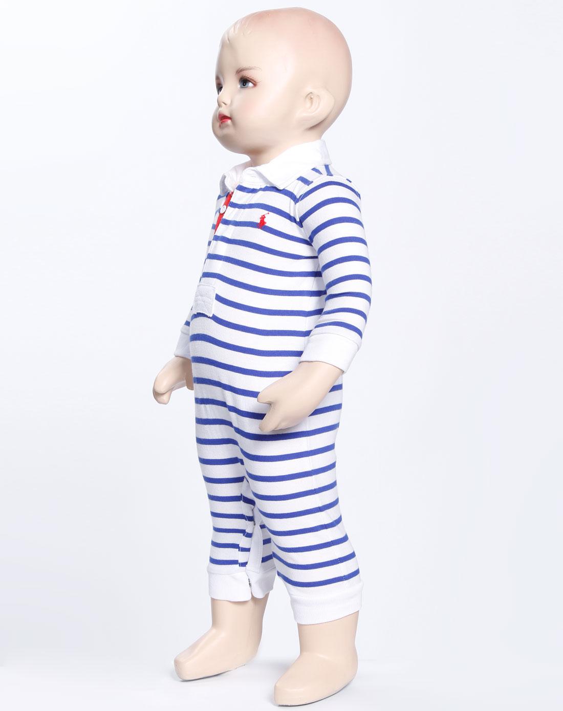 儿童白色蓝条长袖裤