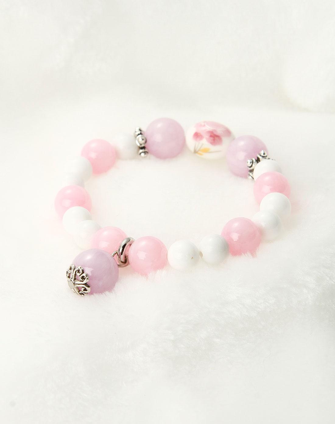 粉色时尚手绘牡丹手链