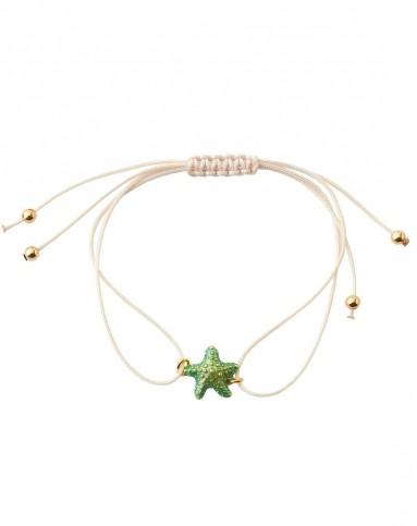 意大利艺术珠宝美赛丝misis 地中海风情绿海星元素 手绘珐琅手链
