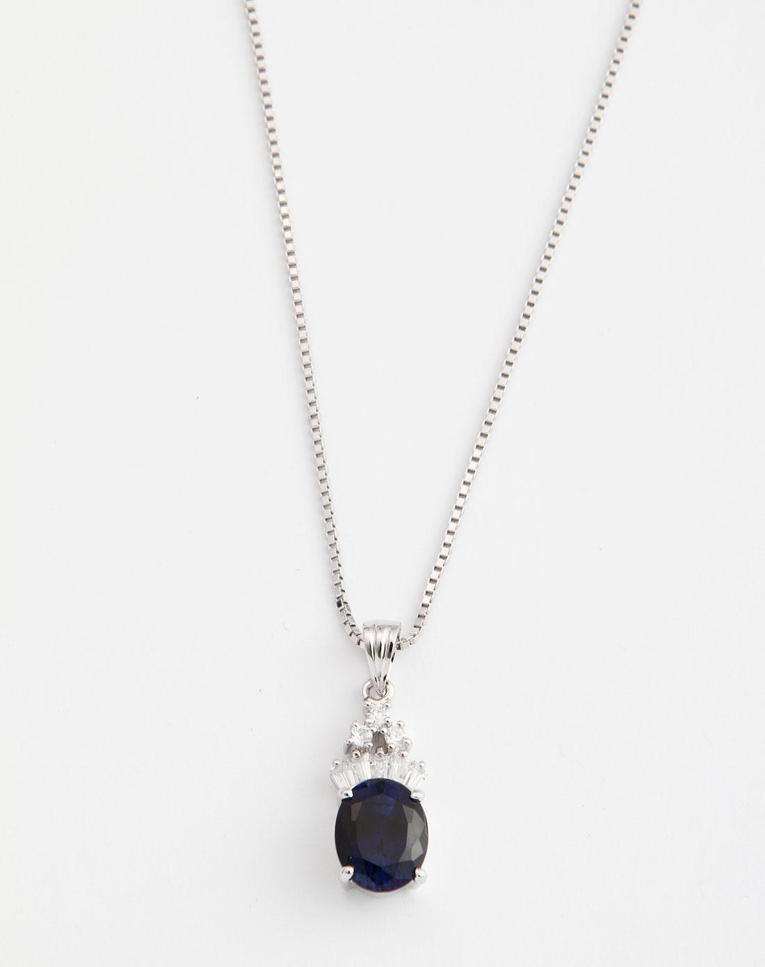 蓝色宝石皇冠吊坠项链