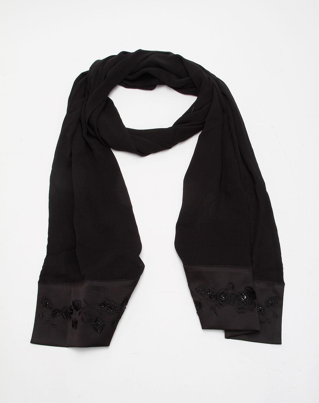 黑色绣花礼服披肩