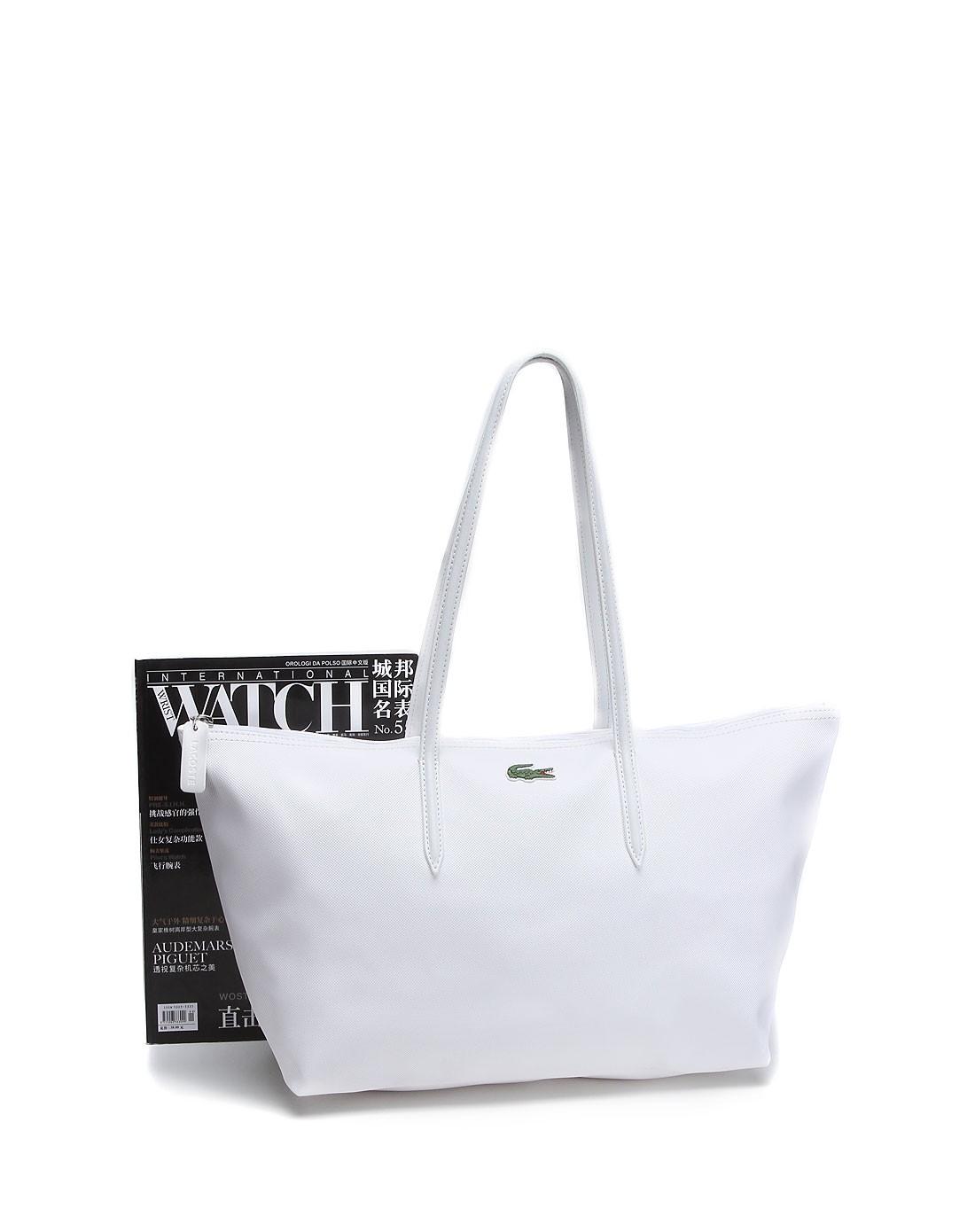 鳄鱼lacoste男女鞋包配件专场女款白色俏丽简约手提袋
