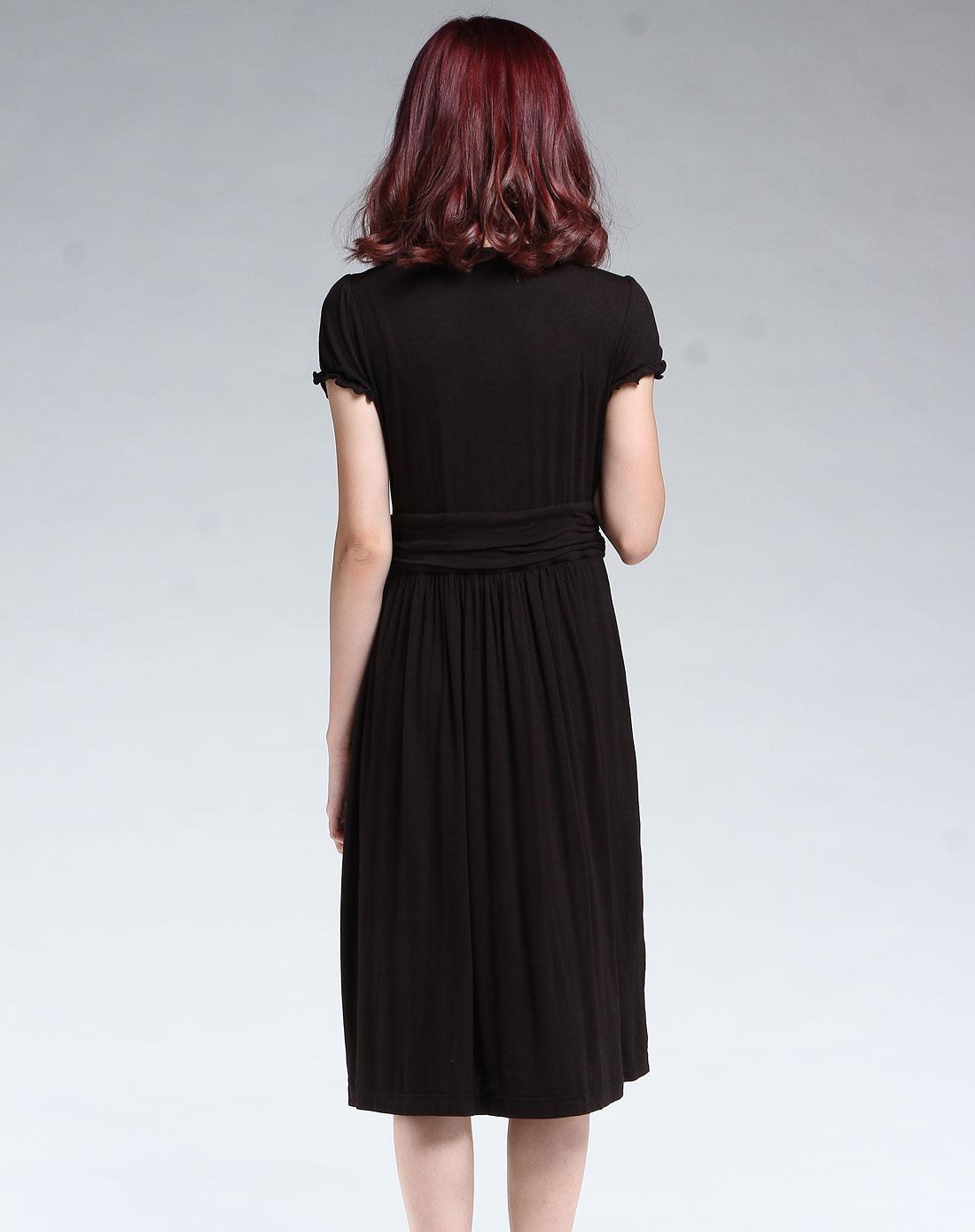 蜜雪儿mysheros黑色时尚短袖连衣裙9210078220