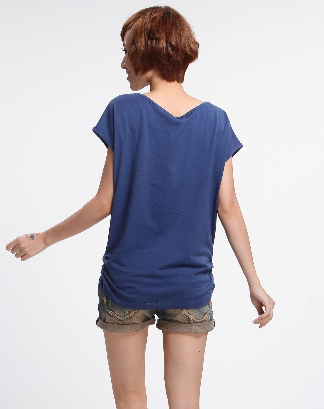 深蓝色人物图案烫钻时尚短袖t恤