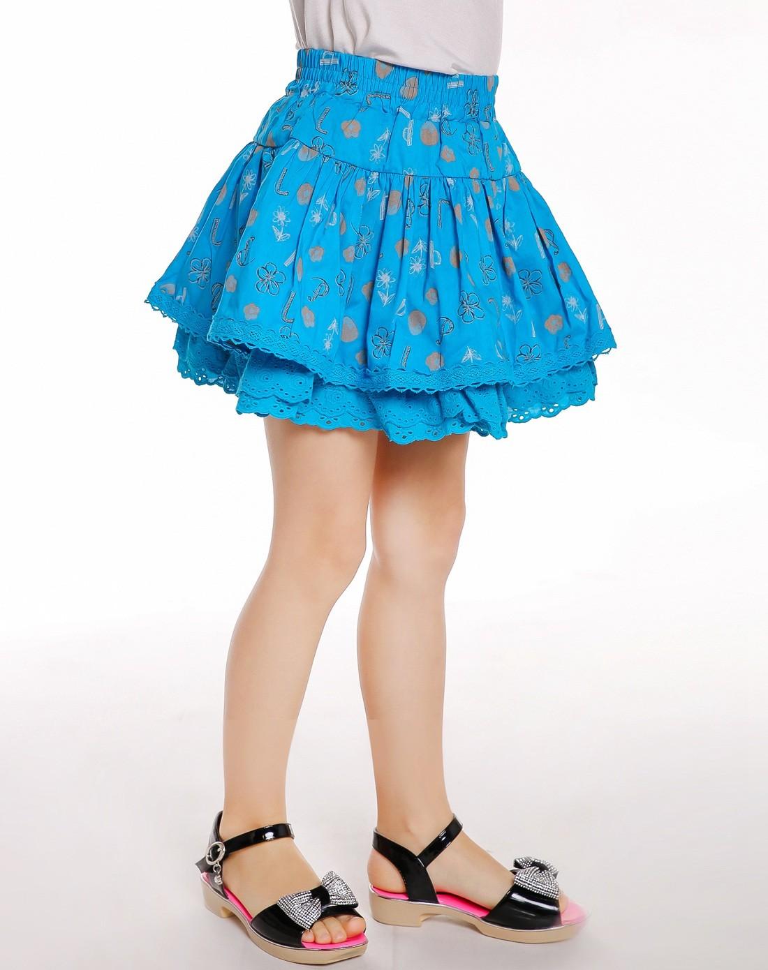 女童孔雀蓝短裙儿童半截裙