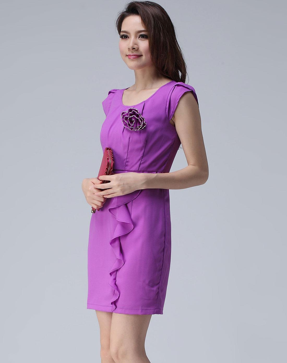 紫色连衣裙长款仙 两件套套装裙图片