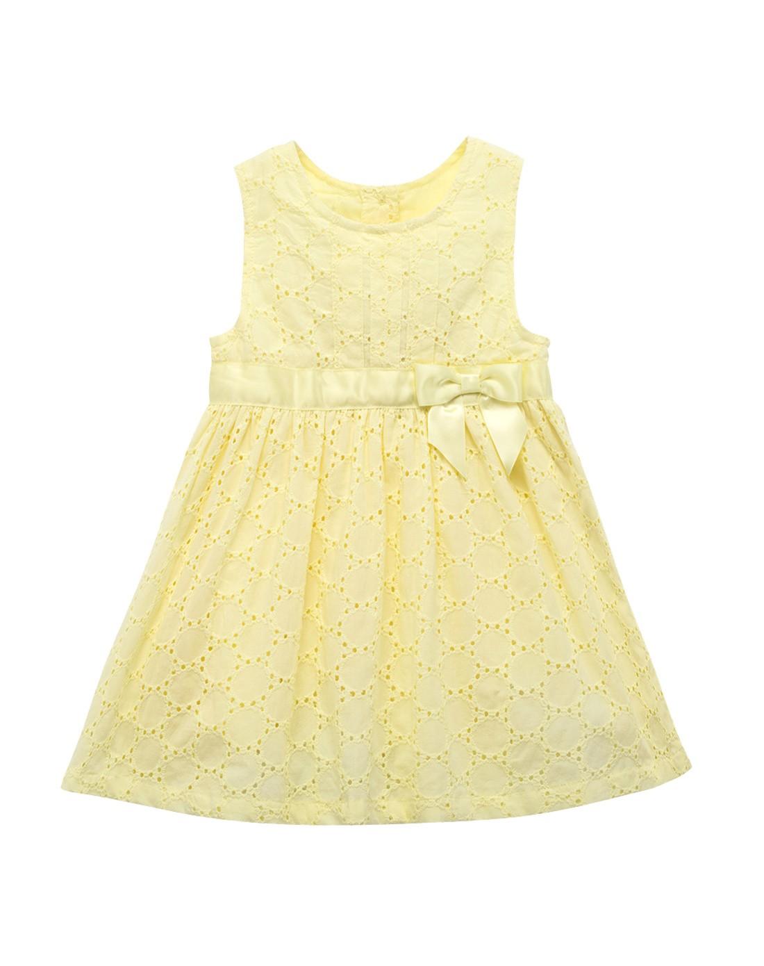 女宝宝黄色背心高腰公主裙