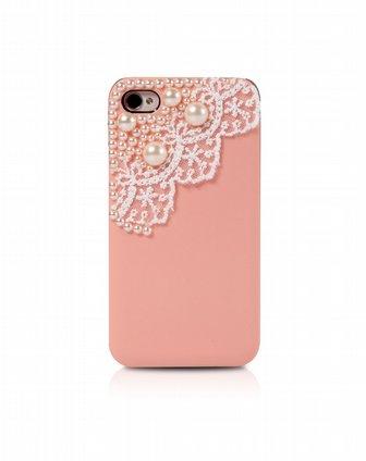 蕾丝花边珍珠手机套