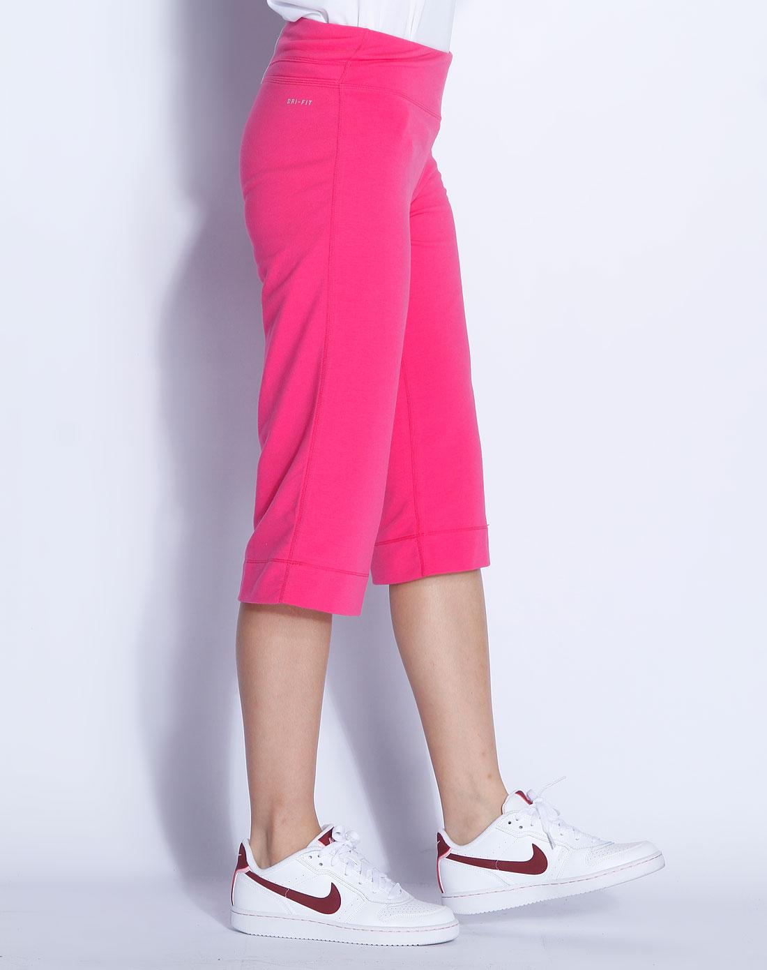 耐克nike玫红色印花针织中裤379417-618