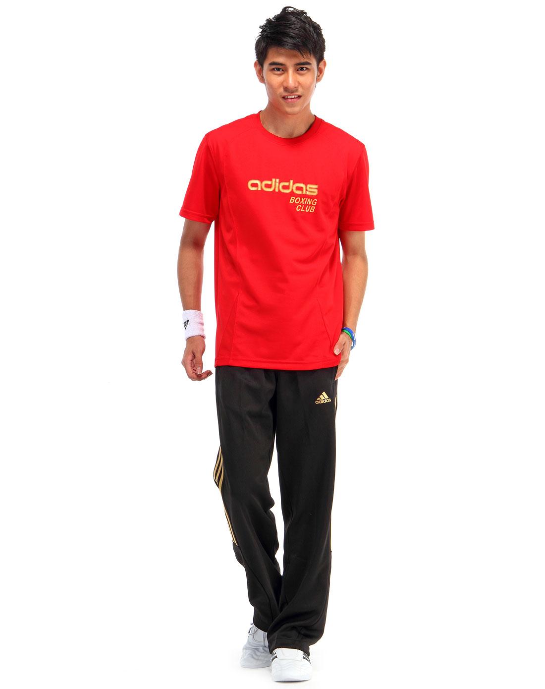 夏季男款红/金色速干短袖t恤