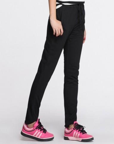 优衣美女裤移动端专场黑色舒适抽绳运动长裤1524242b
