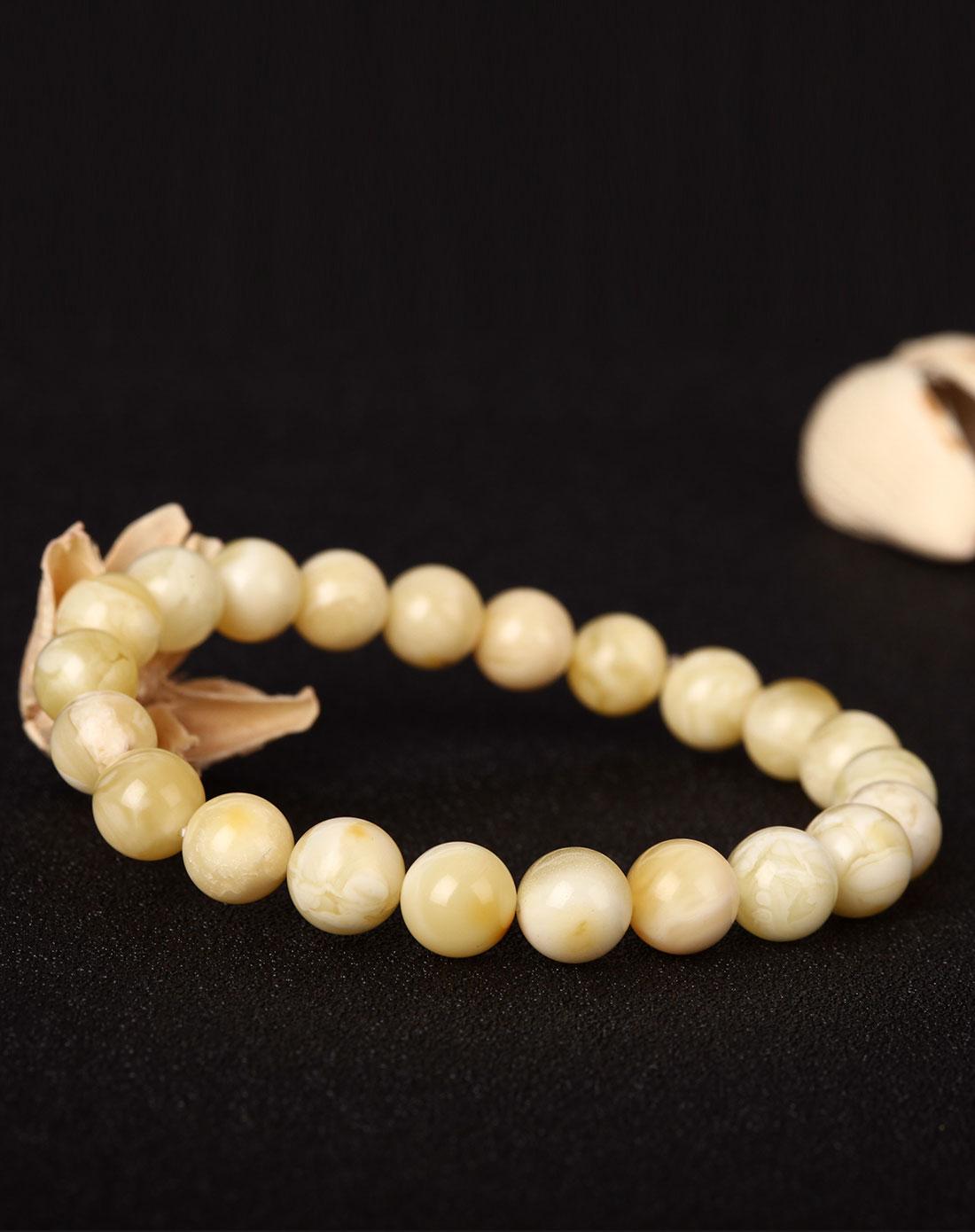 白花蜜蜜蜡圆珠单圈手串