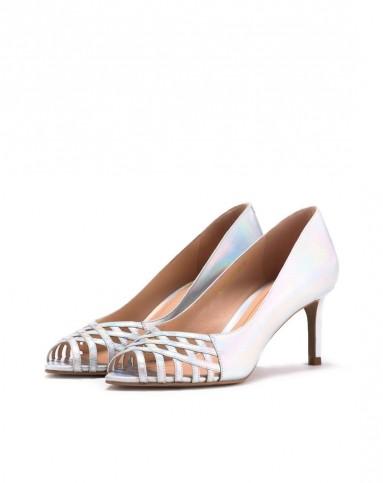gml2015年新款女士银色幻彩牛皮编织条带高跟鞋