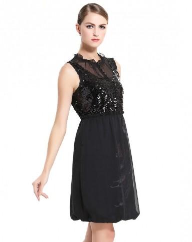 黑色欧式复古优雅无袖连衣裙