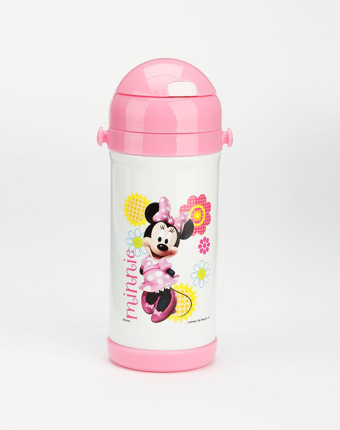 迪士尼disney儿童用品专场女童玫红色米妮吸管保温壶