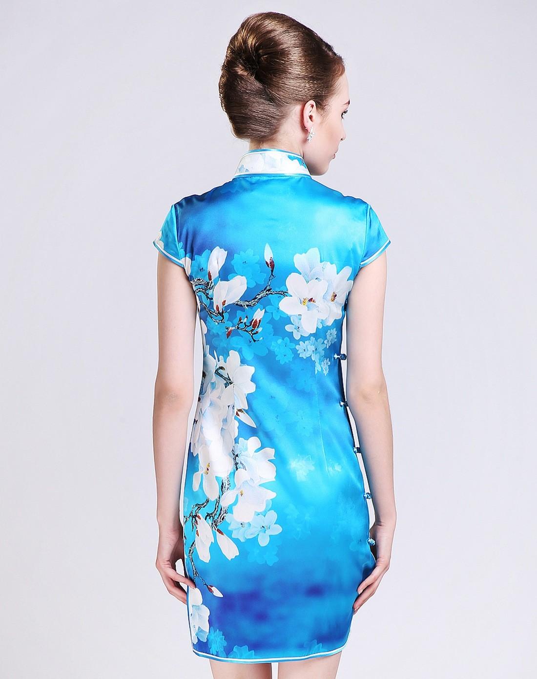 女款蓝色印花手工制作真丝旗袍